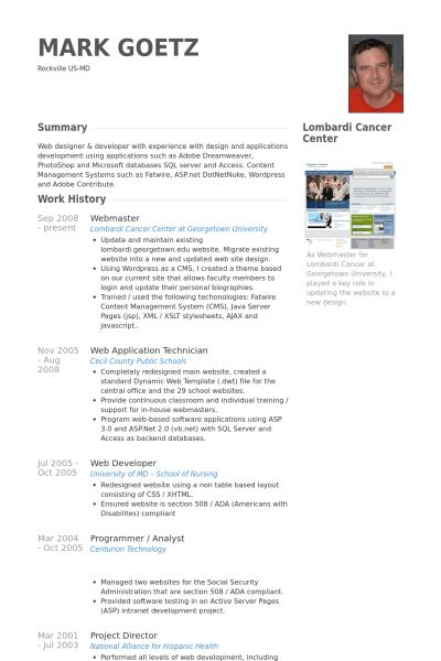 Webmaster Resume samples - VisualCV resume samples database