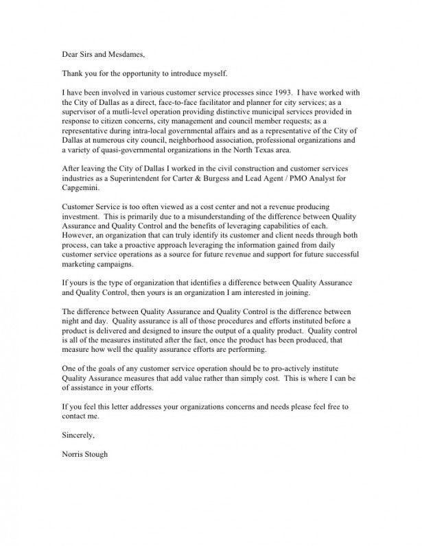 Cover letter sample for quality assurance job