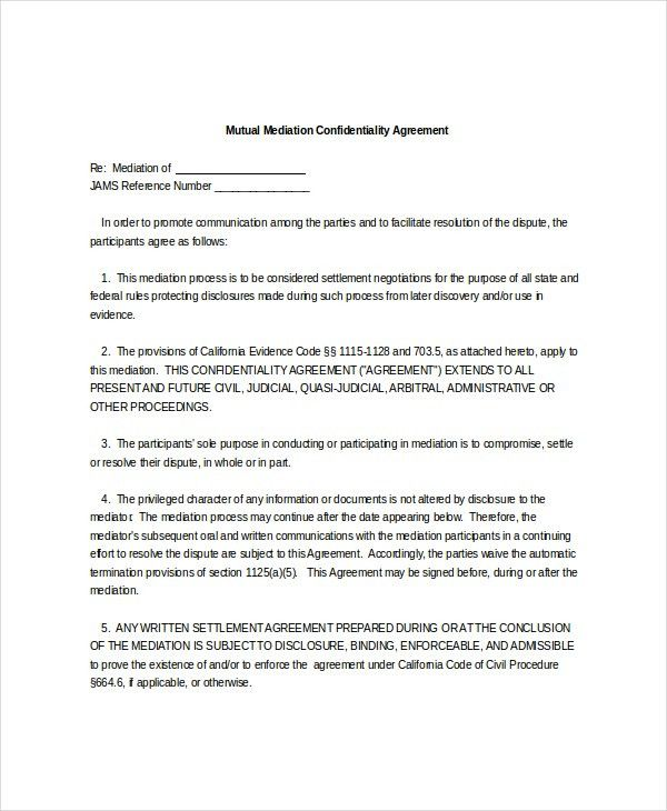 10+ Mediation Confidentiality Agreement Templates – Free Sample ...