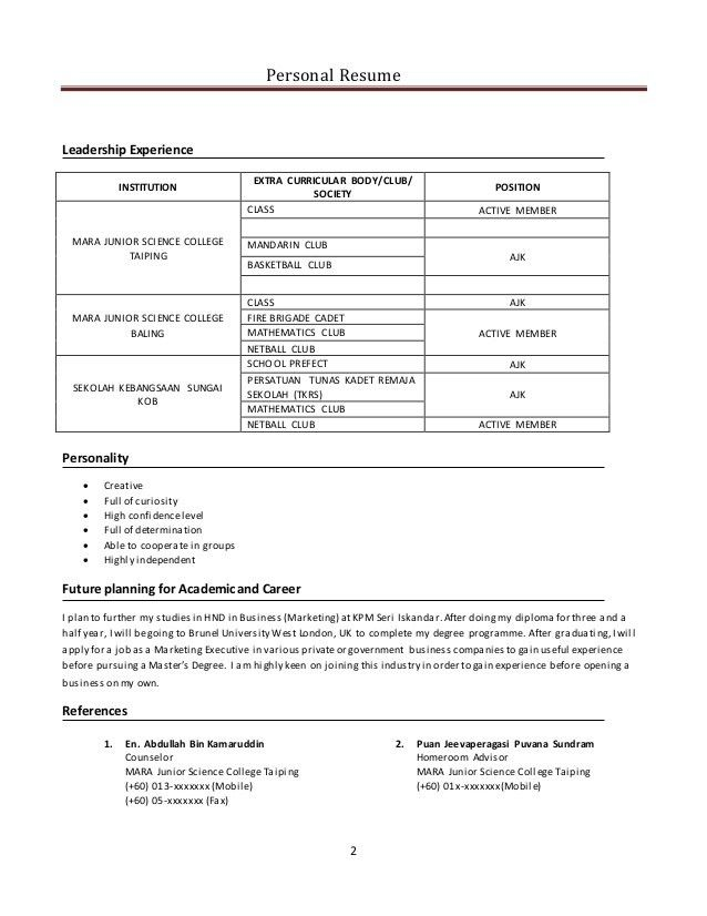 Interview Resume] Resume For Job Interview, Contoh Resume Mock .