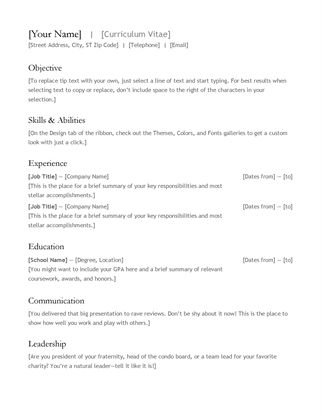 Simple resume - Office Templates