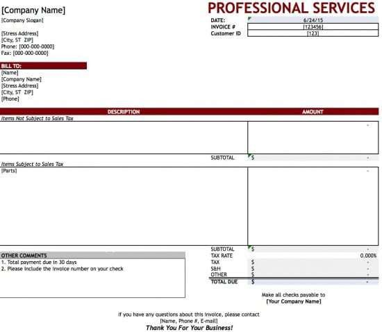 Free Professional Services Invoice Template | Excel | PDF | Word ...