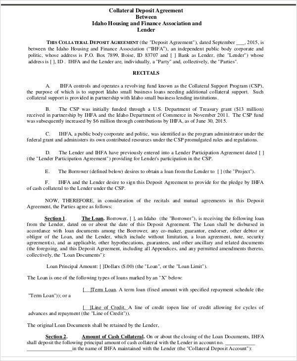 8+ Collateral Agreement Templates - Word, PDF   Free & Premium ...