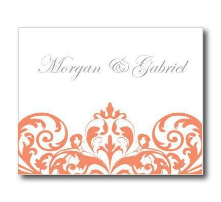 Wedding Thank You Card Template - INSTANT DOWNLOAD - Damask (Coral ...