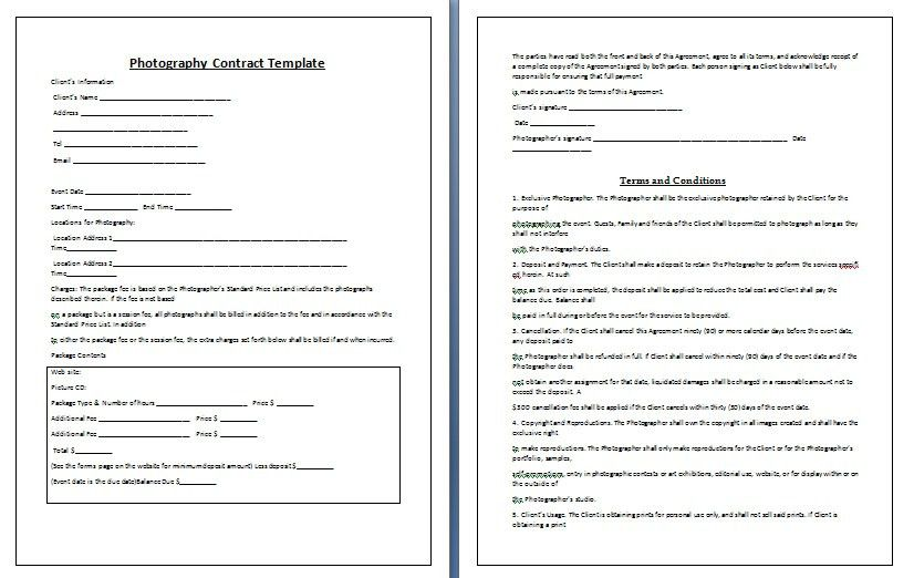 Photography Contract Template | peerpex