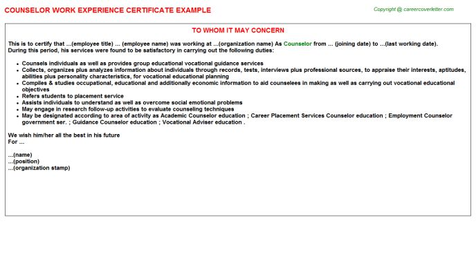 Counselor Work Experience Certificate