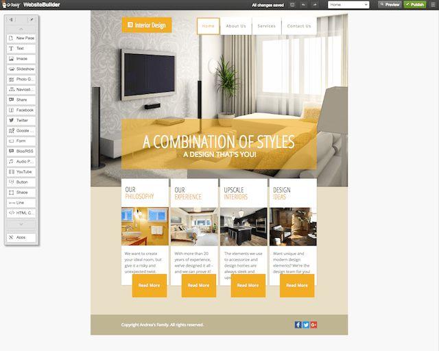 Making a website using GoDaddy's interior design Website Builder ...