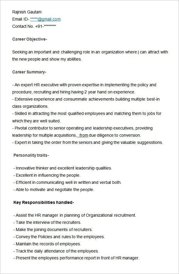 Ideas Collection Sample Resume Of Hr Executive About Reference ...