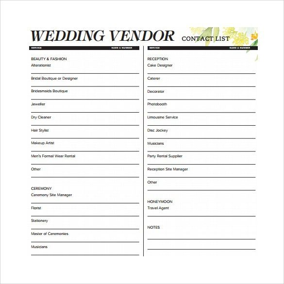 14 Best Images of Wedding Vendor List Template Printable - free ...