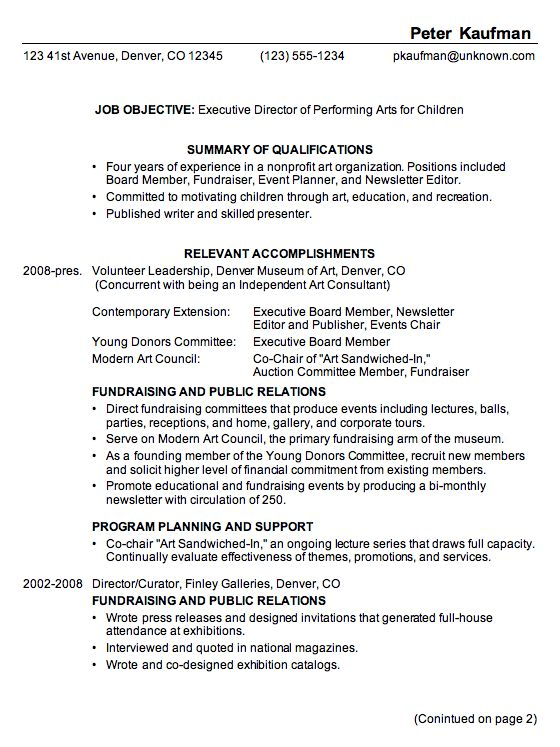 Resume for Executive Director, Performing Arts - Susan Ireland Resumes