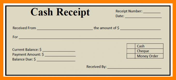 cash receipt template word