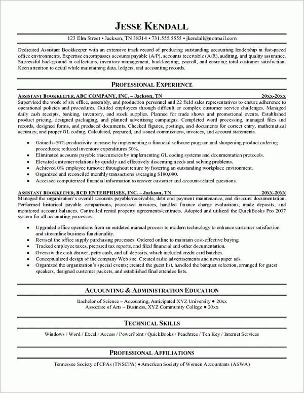 Bookkeeping Resume Sample | jennywashere.com