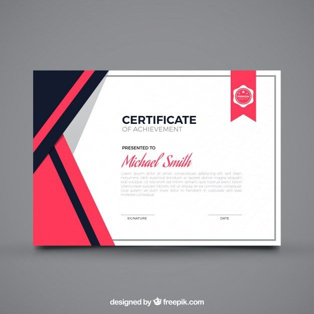 Flat certificate of achievement Vector | Free Download