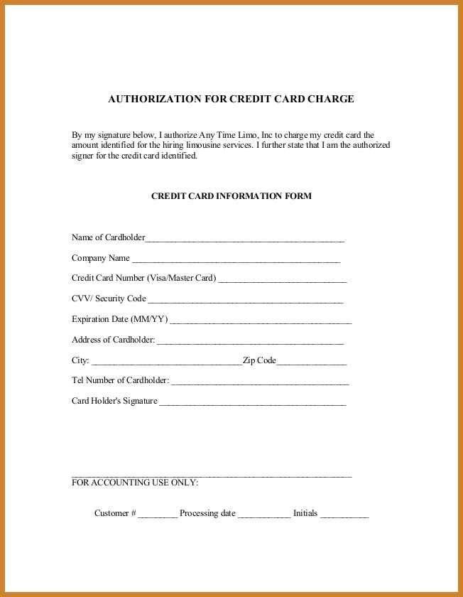 Sample Credit Card Authorization Form. 5 Credit Card Form ...