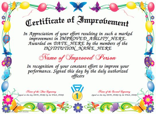 Certificate of Improvement - Here is our free Certificate of ...