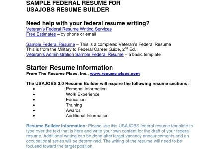 Creating A Federal Resume. marketing job resume sample ...