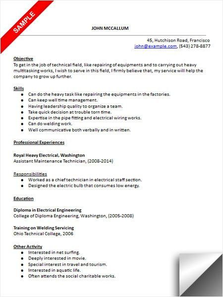 Maintenance Technician Resume Sample | Resume Examples | Pinterest ...