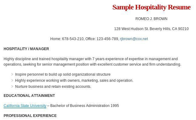 Resume format for hospitality management