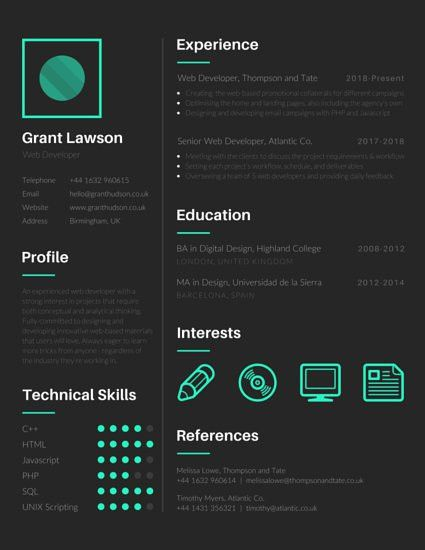 Techie Web Developer Resume - Templates by Canva