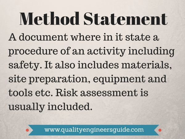 How To Do Good Method Statement   Quality Assurance and Quality ...