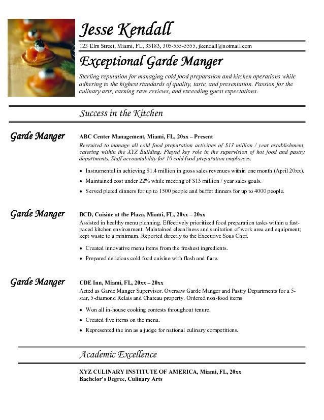 travelling chef cover letter sample resume for food service ...