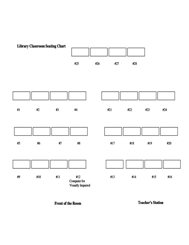 Library Classroom Seating Chart Template Free Download