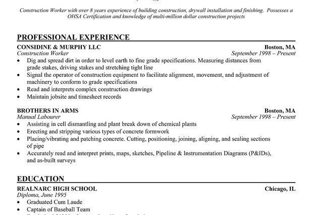 construction worker resume examples and samples download sample