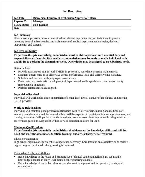 Sample Biomedical Engineering Job Description - 7+ Examples in ...