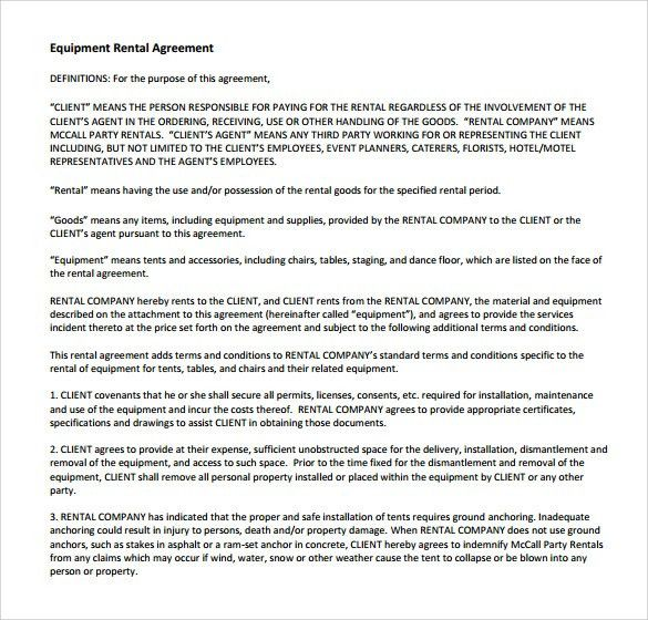 Sample Equipment Rental Agreement Template - 8+ Free Documents in ...