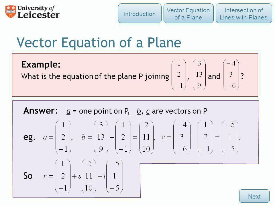 Vectors 5: The Vector Equation of a Plane - ppt video online download