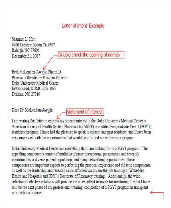 Letter of Intent Formats - 53+ Examples in PDF, Word