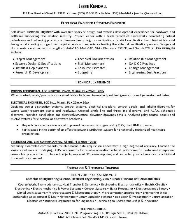 electrical engineer resume sample 2015. electrical engineer resume ...