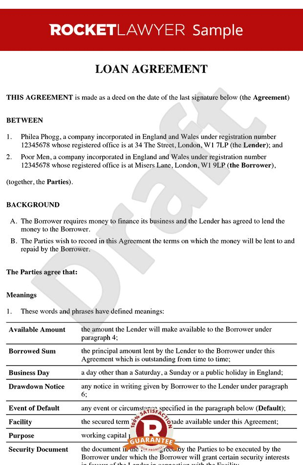 Agreement - Loan Contract - Loan Agreement Template
