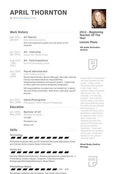 Art Teacher Resume samples - VisualCV resume samples database