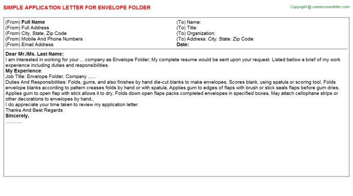 Envelope Folder Application Letter