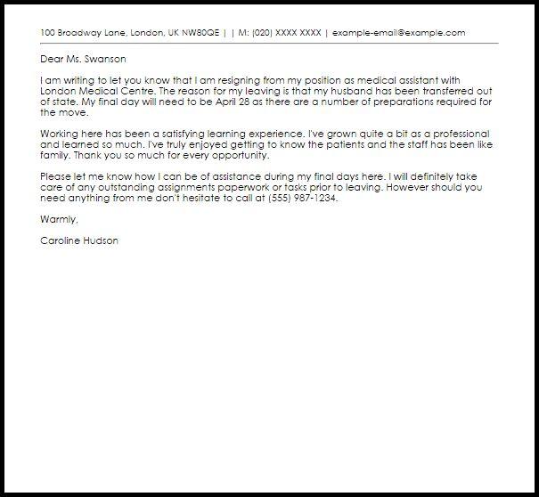 Medical Assistant Resignation Letter | LiveCareer
