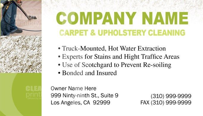 Carpet Cleaning Business Cards #C0003 (BACK VIEW)