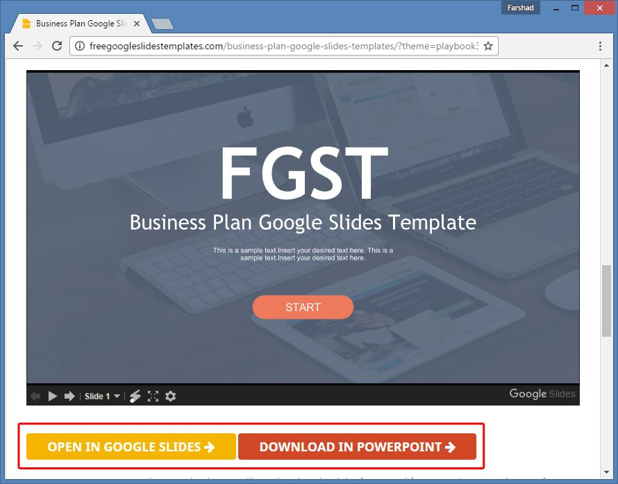 Business Plan Template for Google Slides