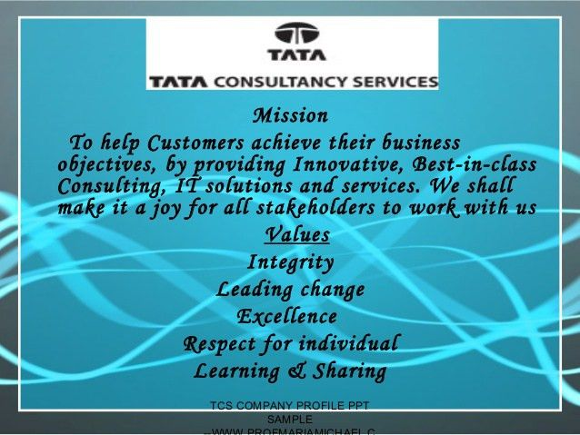 Tcs company profile presentation -sample