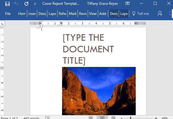 Cover Report Template For Word With Cover Picture