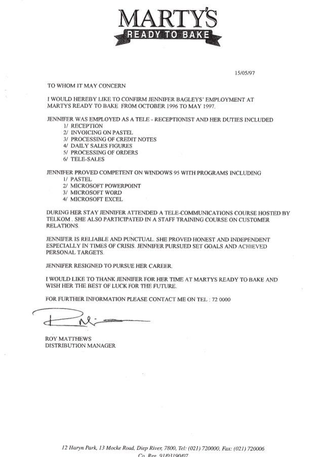 Andrews - Reference Letter - Martys Bakery