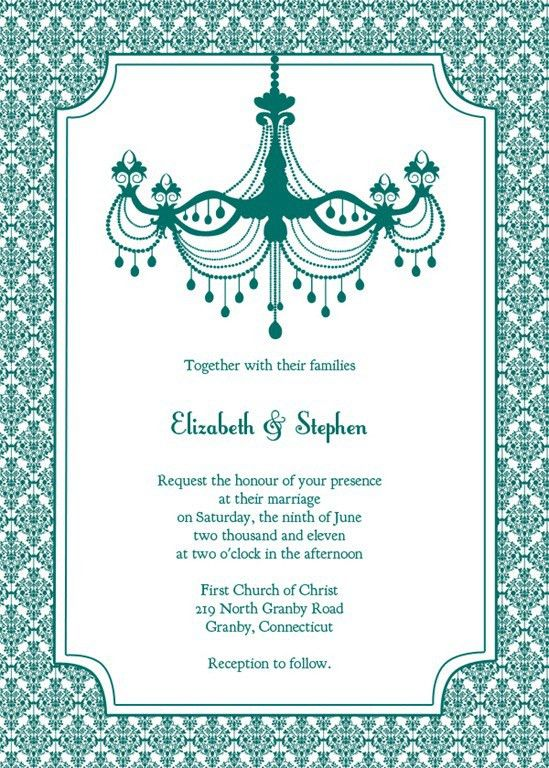 Stylish and Beautiful Blank Teal Wedding Invitation Templates ...