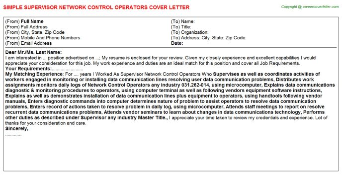 Master Control Operator Cover Letters