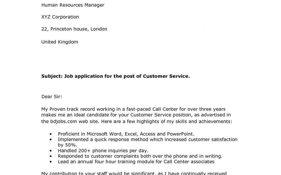 Resume : Template Cover Letter Cover Letter For Customer Service ...