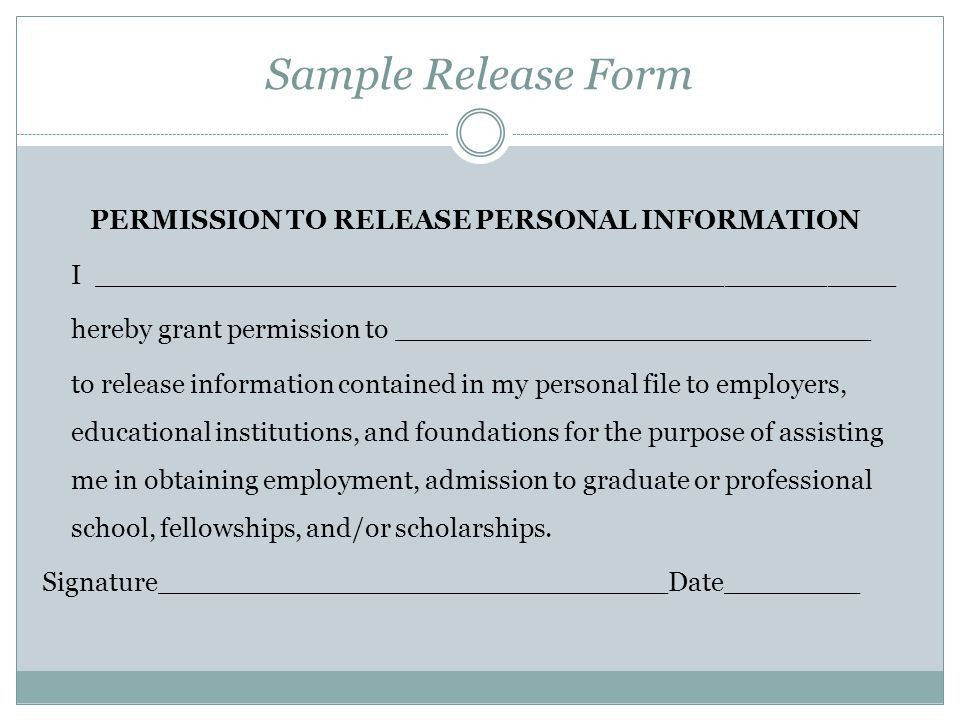 Personal Information Release Form | Samples.csat.co