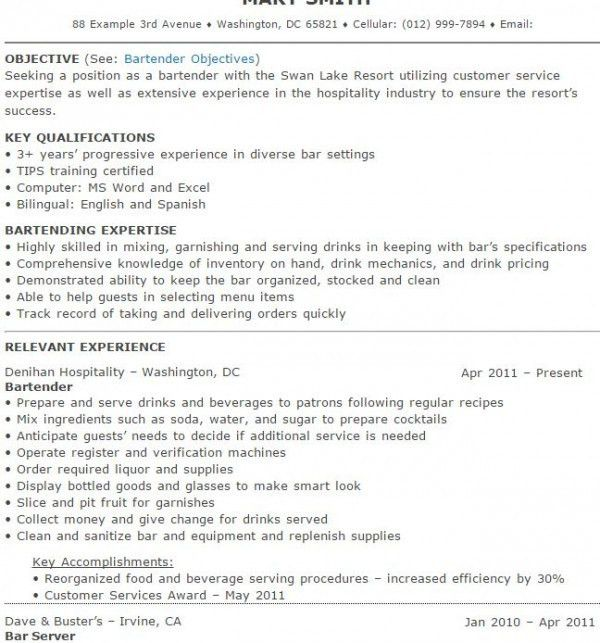 Extraordinary Bartender Resume Sample 11 Bartender Resume Samples ...