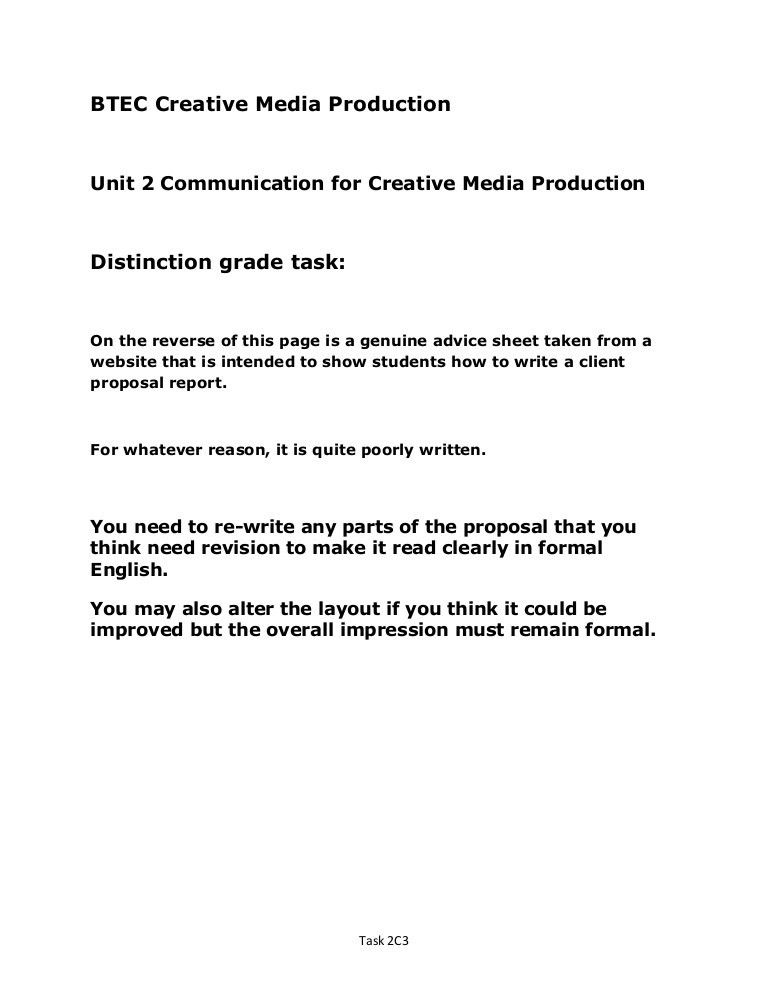 Unit 2 d1 distinction level sample client advertising proposal