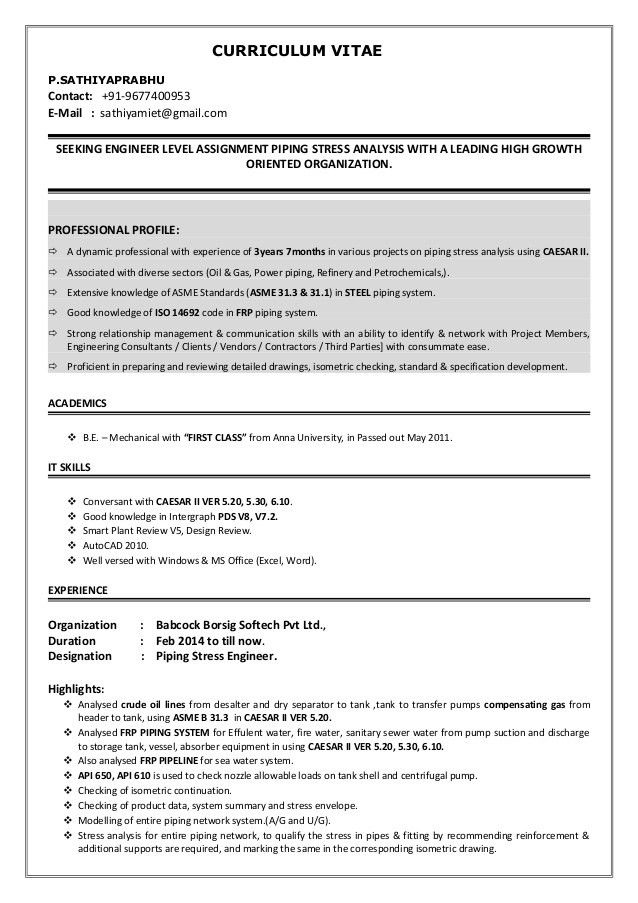 Download Piping Stress Engineer Sample Resume ...