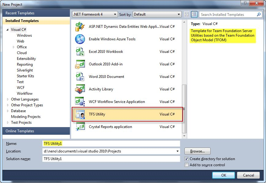 Download: Visual Studio 2010 Project Template for TFS Utilities
