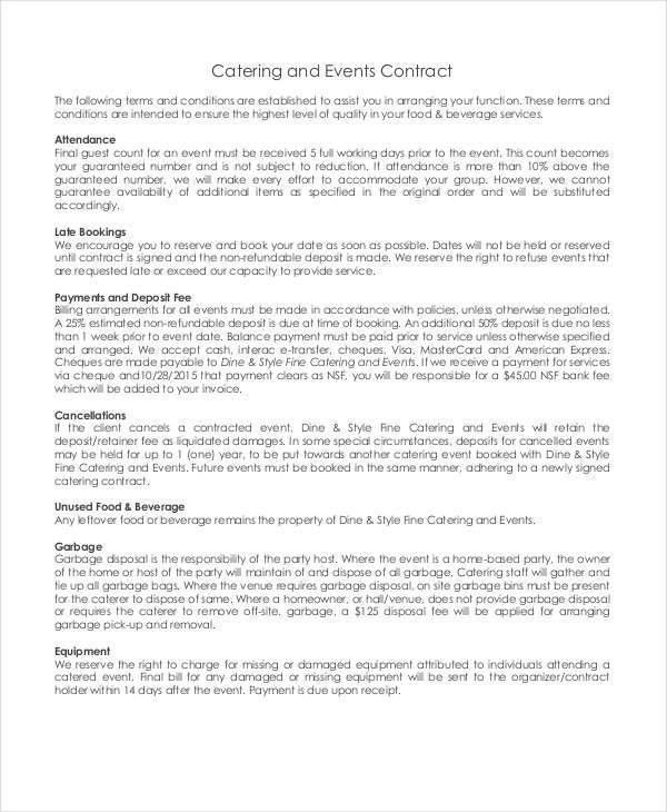 Catering Contract. Catering Contract For Schools Catering Contract ...
